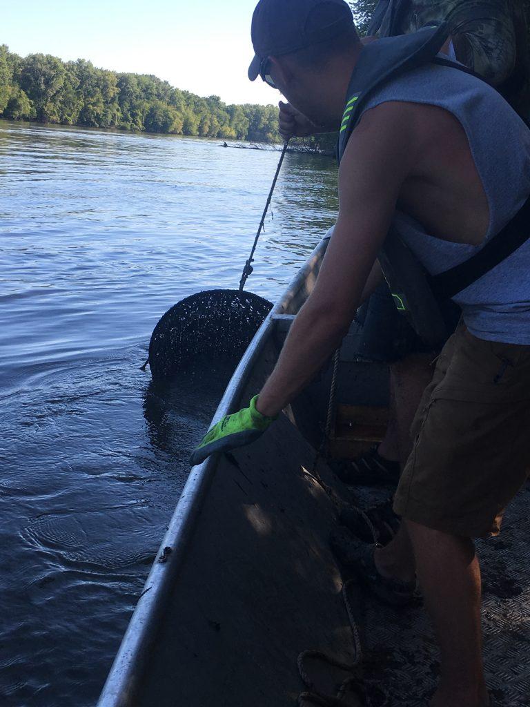 Staff pulling a hoop net